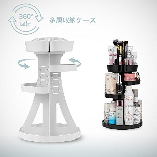 『Jerrybox コスメ収納 メイクボックス 回転 化粧品収納 コスメボックス (タワー, ホワイト)』の2枚目の画像