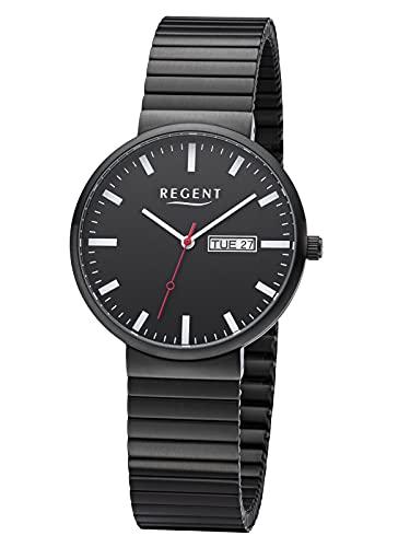 Regent Reloj de pulsera para hombre con correa de acero inoxidable de 38 mm de diámetro, cuarzo, día de la semana, aspecto de estación de tren., Negro ,