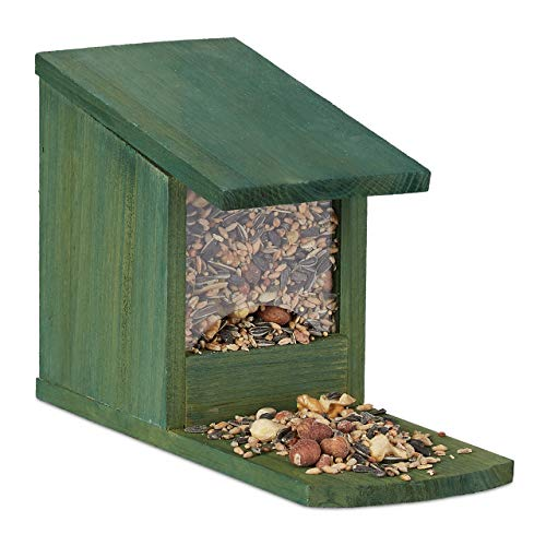Relaxdays Eichhörnchen Futterhaus, Futterkasten f. Eichhörnchen, zum Aufstellen, Holz, HBT 17,5 x 12 x 25 cm, dunkelgrün