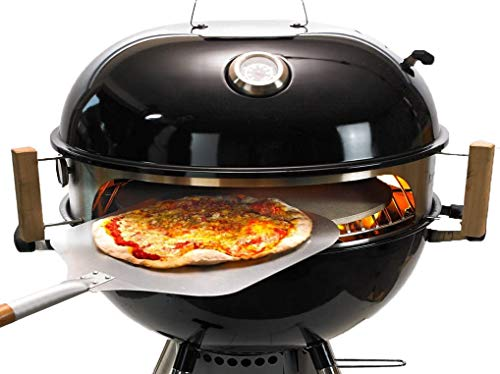 Moesta-BBQ 10082 Smokin' PizzaRing - Pizzaset – Perfekte Pizza vom Kugelgrill - Mit Pizzaschieber, Pizzastein, Pizza-Blech und Thermometer- Für Grills mit 50cm Ø