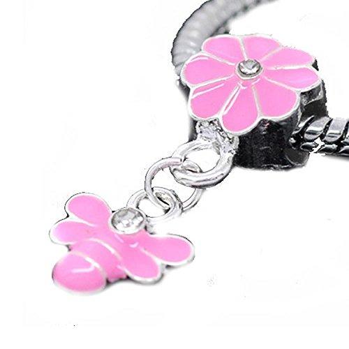 Sexy Damen-Bail mit Biene Emaille Blume baumeln Charm Bead für Schlange Kette Armband funkelt.