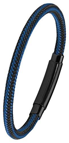 s.Oliver Herren Armband 21cm Edelstahl IP Black schwarz blau