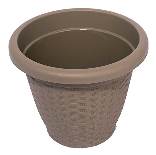 Hobby & Style 17142.0 Pot Rond Rattan, écorce métallisée, 30 x 30 x 23 CM