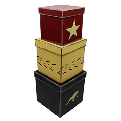 CVHOMEDECO. Primitivo país cúbicos Star Nesting Cajas de cartón de Cuervo. 20,3 x 20,3 x H20,3 cm & 17,8 x 17,8 x 17,8 cm & 15,2 x 15,2 x H15,2 cm, Juego de 3.