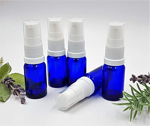 Lot de 5 x Flacon Bleu 10 ml Aromathérapie Bouteille en verre avec sérum pompe blanche
