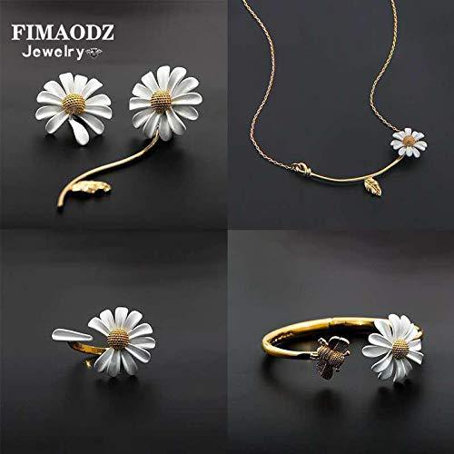 WYFLL Juego de joyas de alta calidad con margaritas para novia, corona, pendientes, anillo y pulsera