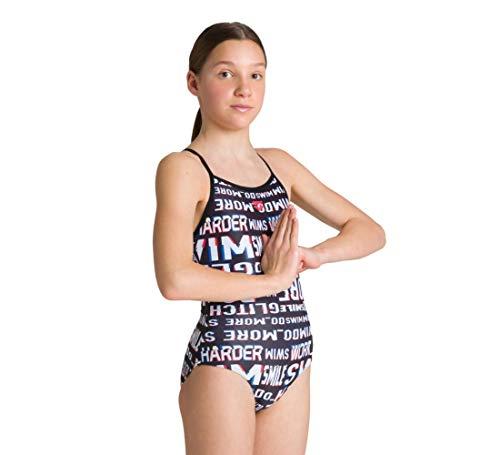 ARENA Mädchen Sport Badeanzug Neon Glitch Lining, Black-Black Multi, 140