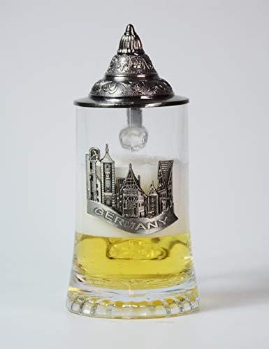 Amoy-Art Bierpul Bierglas Beer Stein Mug Bierkrug met tinnen deksel Drinken Tankard Handgemaakt Geschenken Souvenir Gegraveerde Tin Duits kasteel Voedselveiligheid Geschenkdoos 0.45L