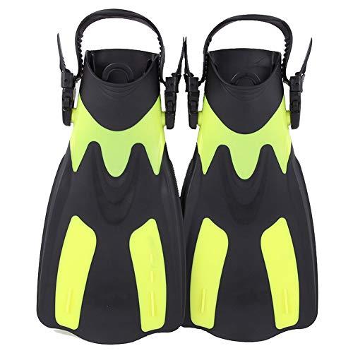 Moligin Buceo Aletas de Buceo Aletas Aletas Snorkel Corto Aletas para Nadar pie Aletas Aletas Adulto con el talón Ajustable para Practicar Deportes acuáticos Amarillo L-XL