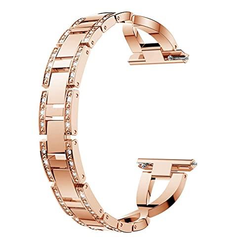 HEMOBLLO Compatible para Fitbit Inversa Diamante Bling Reemplazo Metal Oro Rosa Enlace Correa 22Cm Reloj Inteligente Pulsera Brazalete Pulsera
