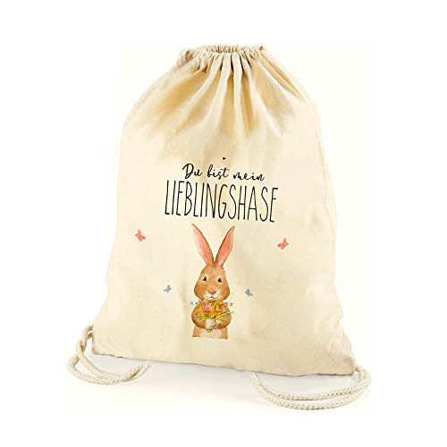 4you Design Zuziehbeutel Du bist Mein Lieblingshase mit Hasen-Motiv Geschenkbeutel Tasche Hase Ostern Kordelzug Tüte Beutel