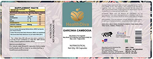 HealthDiva Garcinia Cambogia for Weight Loss Supplement for Men and women – 100% Natural, 60% HCA, Pure Extract Appetite Suppressant, Fat Burner – Vegan, Non-GMO, 90 Capsules (Pack of 1)