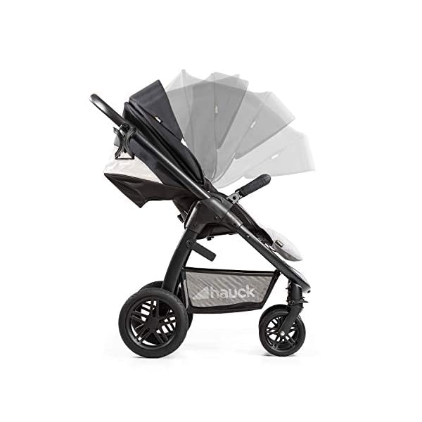 Hauck Hauck Unisex Promenade Chaises Black/Grey Hauck Maximum comfort: backrest and footrest adjustable to the lying position, extra large canopy, height adjustable handlebars, cup holders and foot covers All terrain: the stroller is suitable for both the city and the countryside thanks to the suspension, the high-quality rubber profile and the swivel and lockable front wheels. Swivel: The lightweight sports chair with removable front bar can be rotated towards parents or in moving direction easily in a few seconds. The chair supports a weight of up to 25 kg. 20