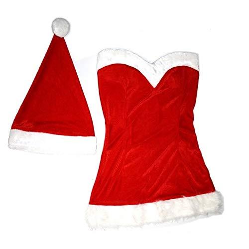 Vetrineinrete® Vestito Natalizio da Donna con Scollo a Cuore Costume da Babbo Natale con Cappellino Vestitino Sexy Completino per Feste Natalizie 3721 (L)