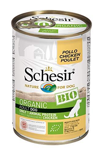 Schesir Dog Bio Monoprotein Huhn, Hundefutter nass, 6 Dosen x 400 g