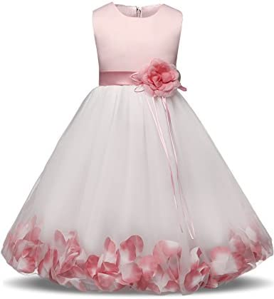 NNJXD Girl Tutu Flower Petals Bow Bridal Dress for Toddler Girl Size 5 6 Years Big Pink product image