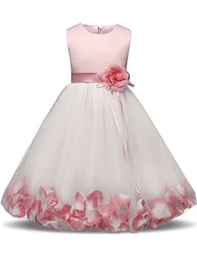 NNJXD Mädchen Tutu Blütenblätter Schleife Brautkleid für Kleinkind Mädchen, Großes Rosa, 3-4 Jahre/ Etikettgröße- 110