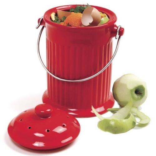 Learn More About Odor-Free Compost Keeper Ceramic Crock - Red