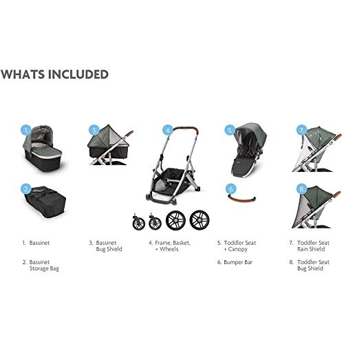 2018 UPPAbaby VISTA Stroller, Jordan (Charcoal Melange/Silver/Black Leather)
