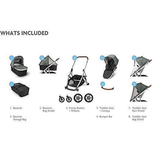 2018 UPPAbaby VISTA Stroller, Jordan (Charcoal Melange/Silver/Black Leather)