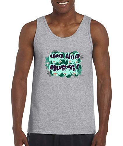 Camiseta de tirantes Hip Hop Music Graffiti para hombres y mujeres gris XXXXXL