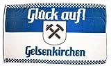 Flagge Fanflagge Gelsenkirchen 3 - Glück Auf - 90 x 150 cm