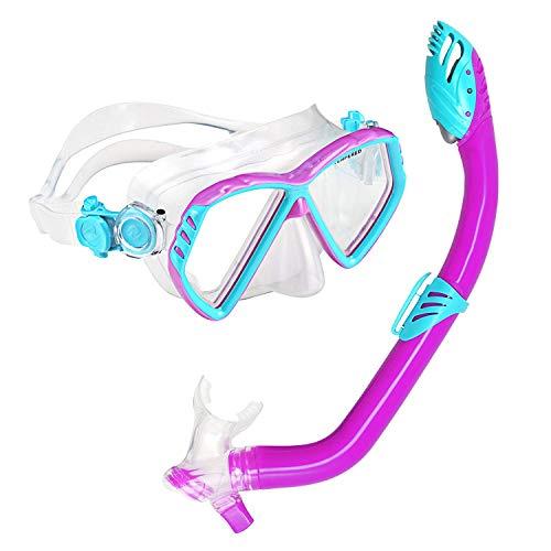 U.S. Divers Junior Regal Kids Swimming Mask and Dry Top Snorkel Youth Combo Set, Fun Purple