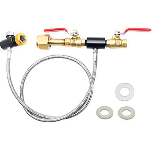 LEW TECH W21.8 CO2-Zylinder-Nachfülladapterschlauch, CO2-Nachfüllstation-Anschlusskit zum Befüllen des Sodastream-Tanks des Soda Maker (36-Zoll-Schlauch, Doppelventil mit Manometer)