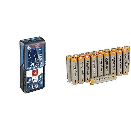 Bosch Professional Laser-Entfernungsmesser GLM 50 C (Bluetooth Schnittstelle für Apps, Messbereich: 0,05 - 50 m, in Schutztasche) mit AmazonBasics Batterien
