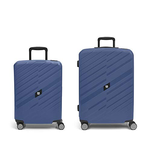 Gabol - Sendai | Rigids Blue Stewardess Travel Suitcase Set with Cabin Trolley and Medium Trolley