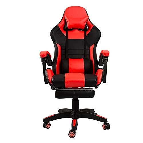 Fityou Gamingstuhl, Racing Chair, Schreibtischstuhl mit hoher Rückenlehne, Bürostuhl, höhenverstellbar, hochklappbare Armlehnen, Wippfunktion, für Gamer (rot)