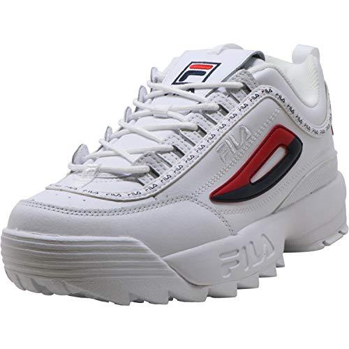Fila - Modelo Disruptor II Premium Repeat - Zapatillas para mujer, Blanco (Blanco/azul marino/rojo), 39.5 EU