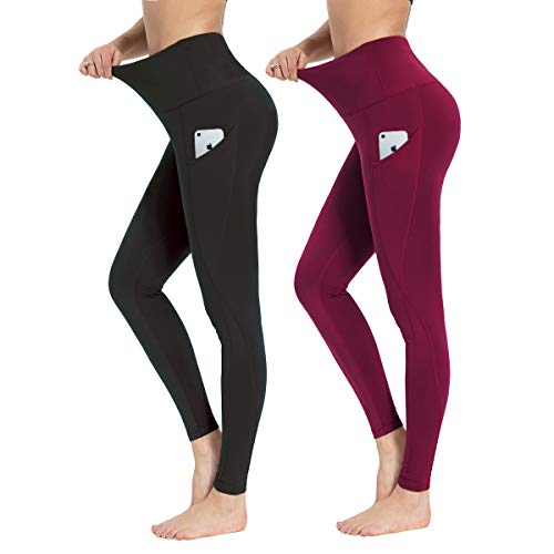 HIGHDAYS 2 Pack Yoga Pants for Women - High Waist Soft Womens Leggings with Pockets for Workout, Running, Athletic (Medium, Black/Burgundy)