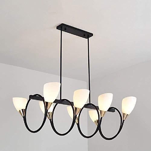 Exquisita Creativa moderna 8 cabezas de la lámpara Barra decoración de metal que cuelga la lámpara pendiente de la lámpara pendiente de la luz de cristal estadounidense Droplight restaurante Mesa de c
