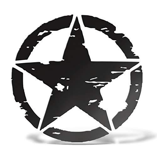 Erreinge Autocollant étoile armée américaine militaire noire Schriftzug En PVC Compatible Pour Auto Moto Camper Jeep Renegade 4X4 Suzuki - 30 cm