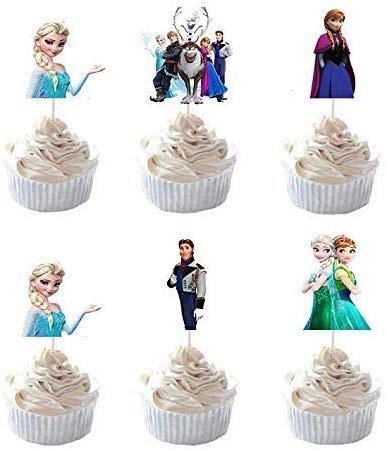 PrincessCake Set of 24 Pieces Frozen Cake Cupcake Decorative Cupcake Topper for Kids Birthday Party