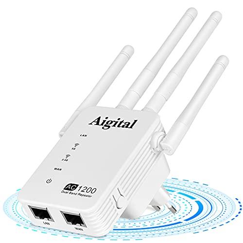 Aigital 1200Mbps Ripetitore Wi-Fi dalla Grande Portata, Amplificatori di Segnale Portatile per casa WiFi Extender e Access Point con 4 Antennas, 2 Ethernet Port,Compatibile con Modem Fibra e ADSL