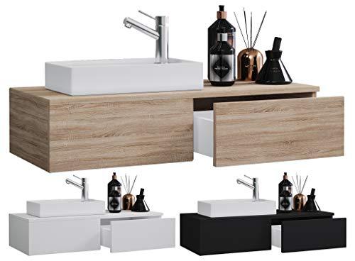 VCM 2-TLG. Waschplatz Waschtisch Waschbecken Schrank Badmöbel WC Gäste Toilette klein schmal Gudas Weiß