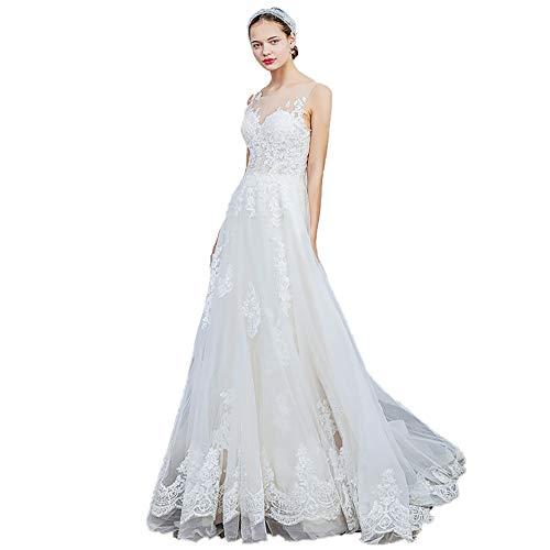 roroz Women's Sweet Lace Brautkleid, Brautkleid Short Tailing, einfache Brautkleider für Hochzeitskirche Hochzeit im Freien Hochzeit,LightChampagne-M