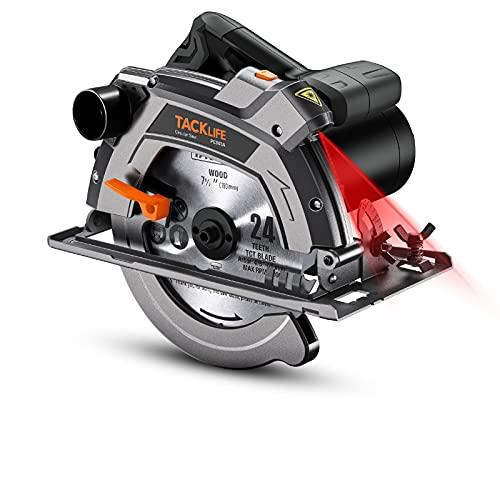 Sierra Circular 1500W 5000RPM, Capacidad de corte 63mm (90º), 45mm (45º), 24T:cortar...