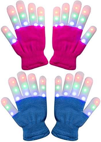 Amazer 2 Pack Kids Light Gloves Children Finger Light Flashing LED Warm Gloves with Lights for product image
