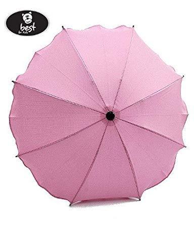 Best For Kids Universal Kinderwagenschirm Höchster UV Schutz Standard 801 - Sonnenschirm und Regenschirm für Kinderwagen, biegsam und einklappbar, viele Farben zur Auswahl (Pink)