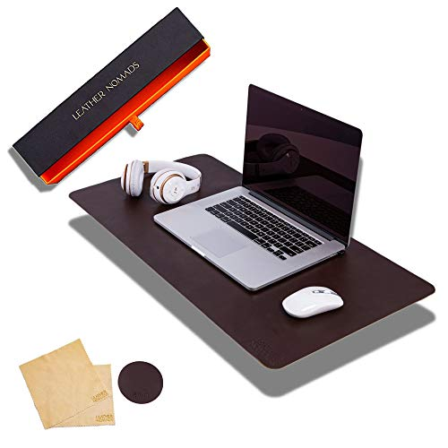 Leather Desk Pad by Leather Nomads - With Coaster And Lens Wipe, 23.5 Inch x 15.7 inch, Chocolate | Premium Quality Hand Made Leather Desk Mat | Functional Large Leather Mouse Pad | Work & Home Office