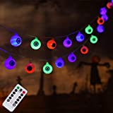 30 LED Halloween Eyeball String Lights, Battery Operated Halloween Fariy Lights, 8 Modes Halloween Lights for Outdoor Indoor Party Patio Halloween Decoration (Multi)