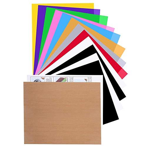 Paquete de vinilo de transferencia de calor HTV, paquete de 12 paquetes de vinilo para planchar para camisetas con 1 hoja de teflón para prensa de calor