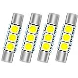 SMTYOE White 29mm Festoon Led Bulb 3-SMD 5050 Chipsets 6614F 6612F for Car Interior Vanity Mirror Sun Visor Lights