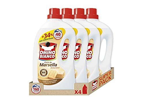 Omino Bianco - Detergente Lavadora Líquido de Marsella 100% Natural, Limpia en Profundidad y Respeta los Tejidos, 40 Dosis, Caja 4 Uds, Total 8000ml
