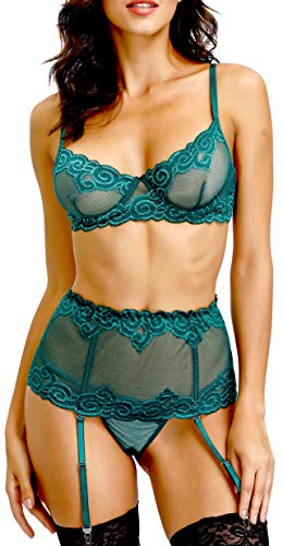 The victory of cupid Women Lingerie Set with Garter Belts Sexy Bra and Panty Underwire Lingerie Sets Deep Green