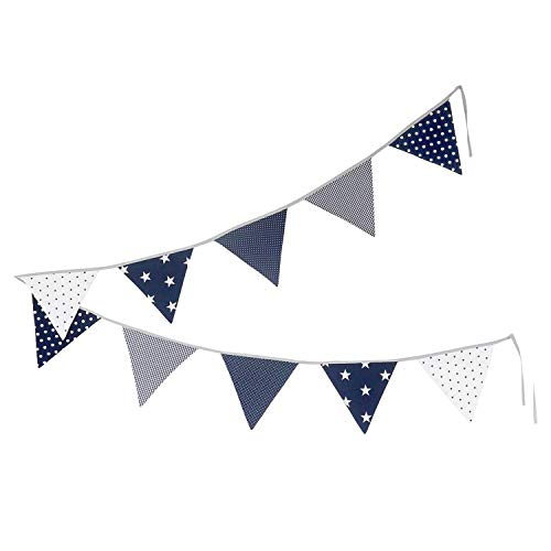 100% Cotton Fabric Bunting Flag Garland Pennant Banner by ULLENBOOM | Polka Dot/Star/Checkered | Baby Shower/Party/Nursery | 11 Ft - Boys Blue