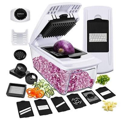 Tasty Health - Mandolina da cucina multifunzione 10 in 1 - acciaio inox - qualità Premium - Diversi motivi di taglio - Guanto anti-taglio in omaggio - facile da usare - dura a lungo.